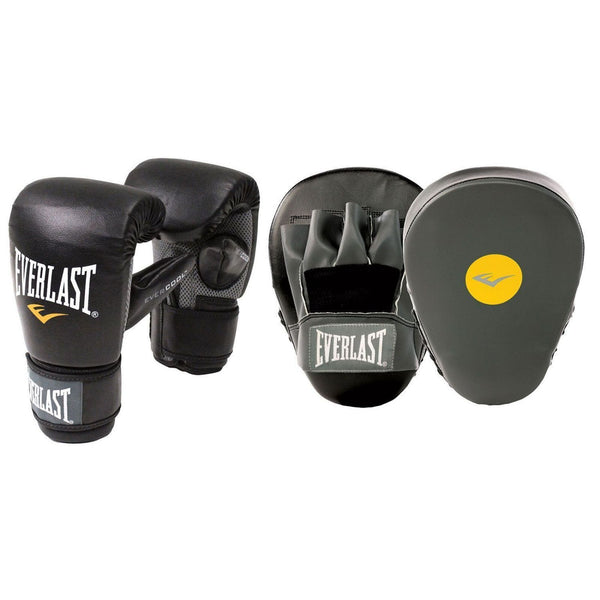 EVERLAST GLOVE AND MITT COMBO SET BLACK