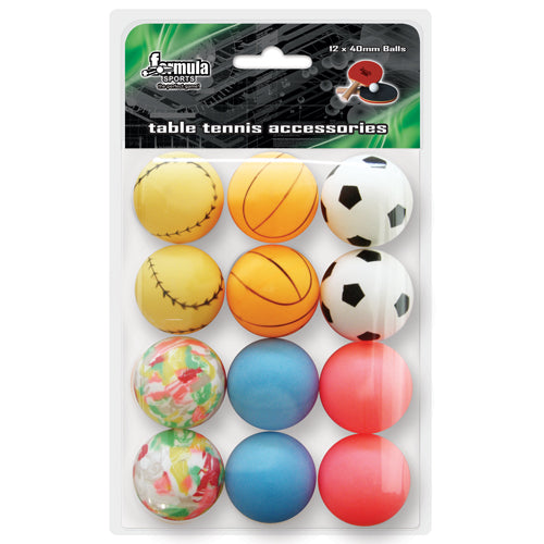 FORMULA SPORTS NOVELTY TABLE TENNIS BALLS 12PK