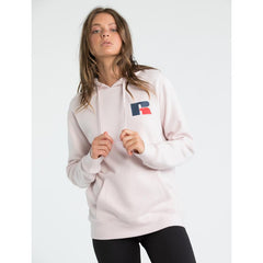 RUSSELL ATHLETIC WOMENS STACKED HOODIE DUST ROSE