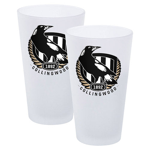 AFL SET OF 2 FROSTED CONICAL GLASSES COLLINGWOOD MAGPIES