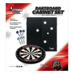 FORMULA SPORTS SOUTHERN CROSS DARTBOARD CABINET SET