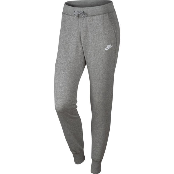 NIKE WOMENS SPORTSWEAR SLIM FIT FLEECE PANT DARK GREY HEATHER/MATTE SILVER/WHITE
