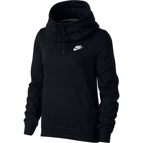 NIKE WOMENS SPORTSWEAR FUNNEL-NECK FLEECE HOODIE BLACK/BLACK/BLACK/WHITE