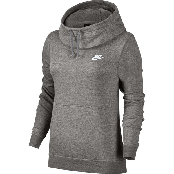 NIKE WOMENS FUNNEL NECK FLEECE HOODIE DARK GREY HEATHER/WHITE
