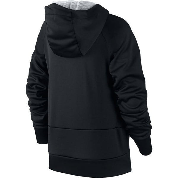 NIKE BOYS THERMA GRAPHIC TRAINING PULLOVER HOODIE BLACK/WOLF GREY/WHITE