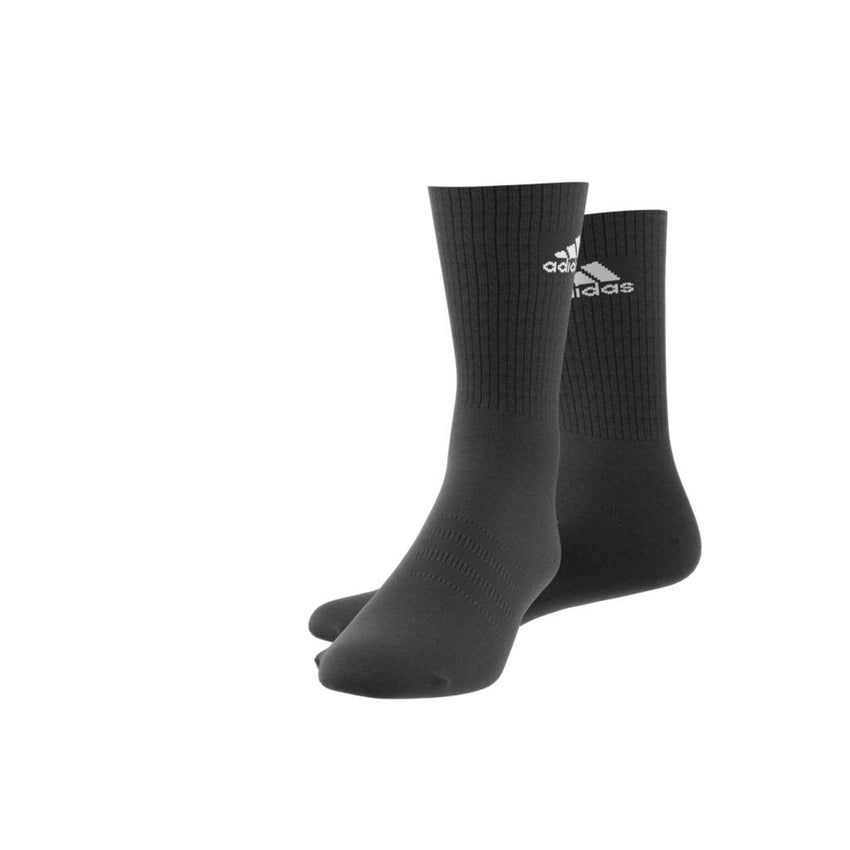 ADIDAS 3S PERFORMANCE HALF CUSHIONED CREW SOCKS BLACK/BLACK/WHITE
