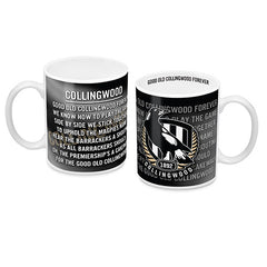 AFL TEAM SONG COFFEE MUG COLLINGWOOD MAGPIES