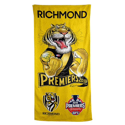 AFL GRAND FINAL CARICATURE BEACH TOWEL RICHMOND TIGERS