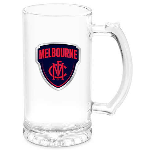 AFL STEIN WITH METAL BADGE MELBOURNE DEMONS