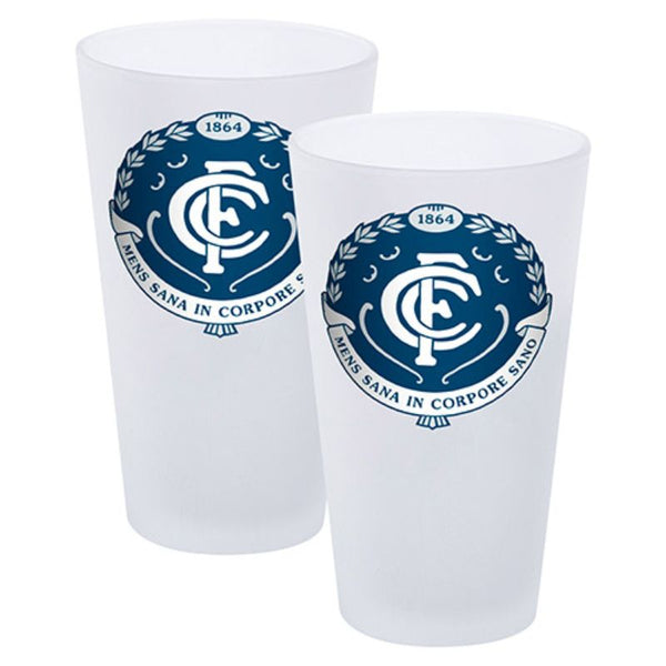 AFL SET OF 2 FROSTED CONICAL GLASSES CARLTON BLUES