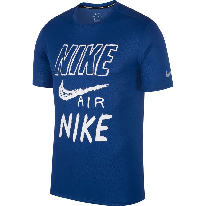 NIKE BREATHE RUN TOP SHORT SLEEVE BLUE