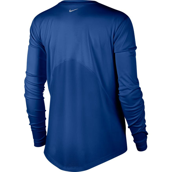 NIKE WOMENS MILER LONG SLEEVE RUNNING TOP INDIGO FORCE/REFLECTIVE SILVER