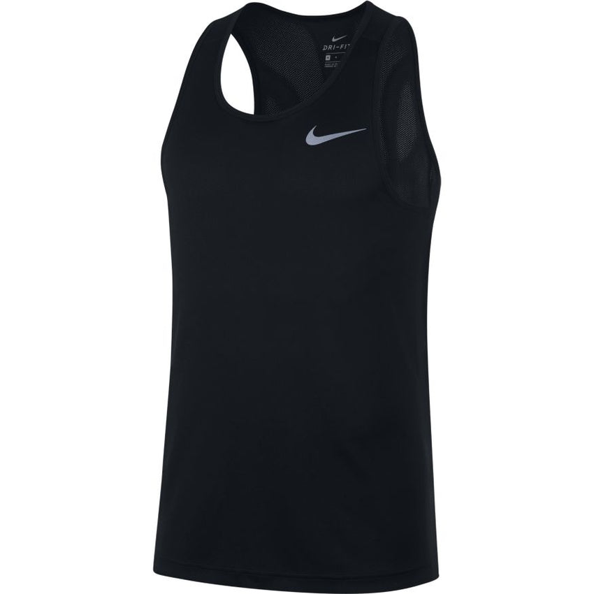 NIKE MENS BREATHE RUNNING TANK BLACK/REFLECTIVE SILVER