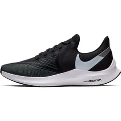 NIKE WOMENS ZOOM WINFLO 6 BLACK/WHITE-DARK GREY-METALLIC PLATINUM