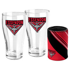 AFL SET OF 2 PINT GLASSES AND CAN COOLER ESSENDON BOMBERS