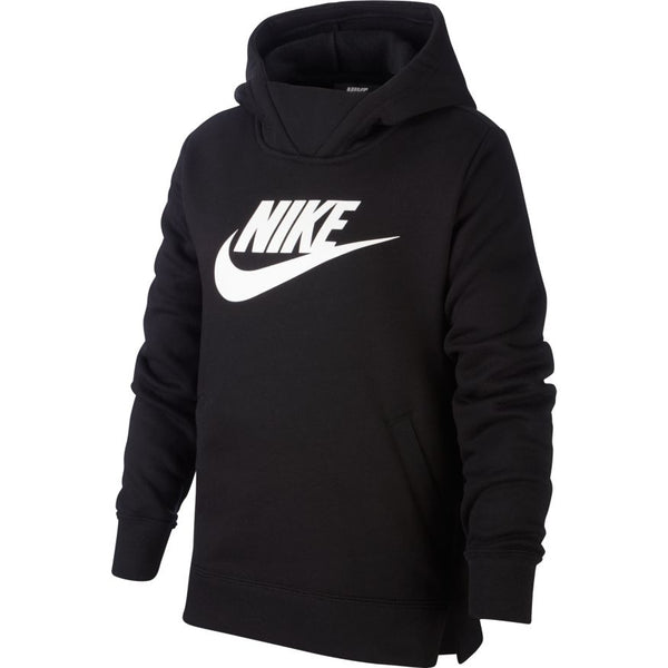 NIKE GIRLS PULLOVER HOODIE BLACK/WHITE