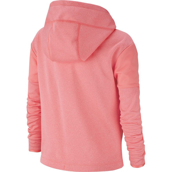 NIKE GIRLS THERMA GRAPHIC PULLOVER HOODIE PINK GAZE/HEATHER/WHITE