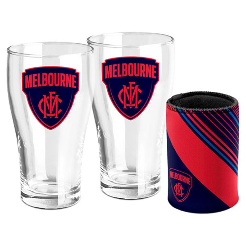 AFL SET OF 2 PINT GLASSES AND CAN COOLER MELBOURNE DEMONS