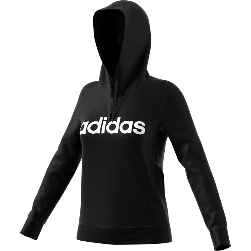 ADIDAS WOMENS ESSENTIALS LINEAR OVER HEAD FLEECE HOODIE BLACK/WHITE