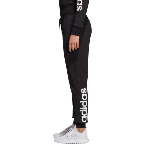 ADIDAS WOMENS ESSENTIALS LINEAR FLEECE PANT BLACK/WHITE