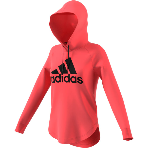ADIDAS WOMENS MUST HAVES BADGE OF SPORT OVER HEAD HOODIE PRISM PINK