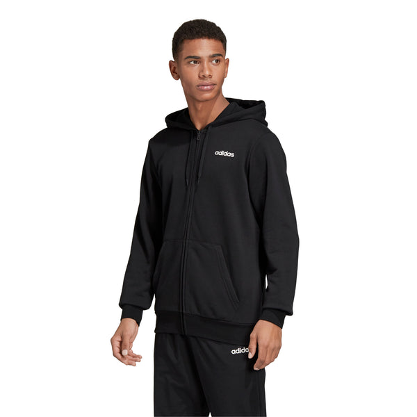 ADIDAS MENS ESSENTIALS PLAIN FULLZIP HOODIE BLACK