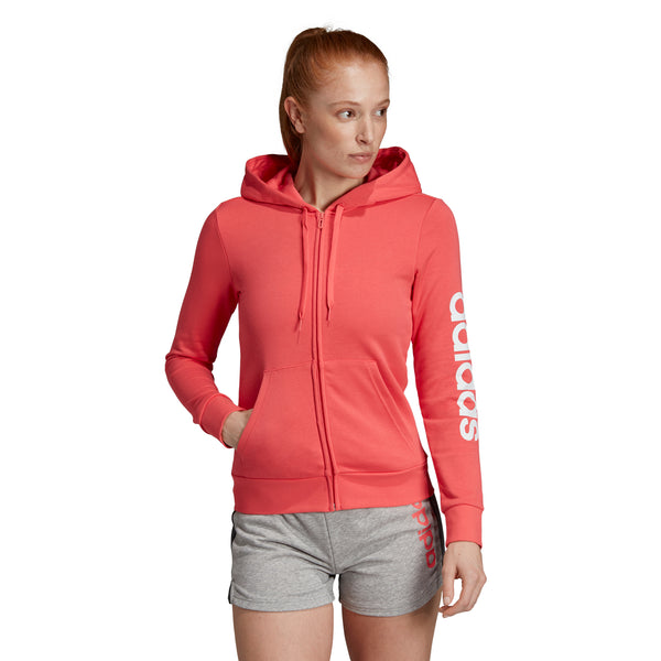 ADIDAS WOMENS ESSENTIALS LINEAR FULL ZIP HOODIE PRISM PINK/WHITE