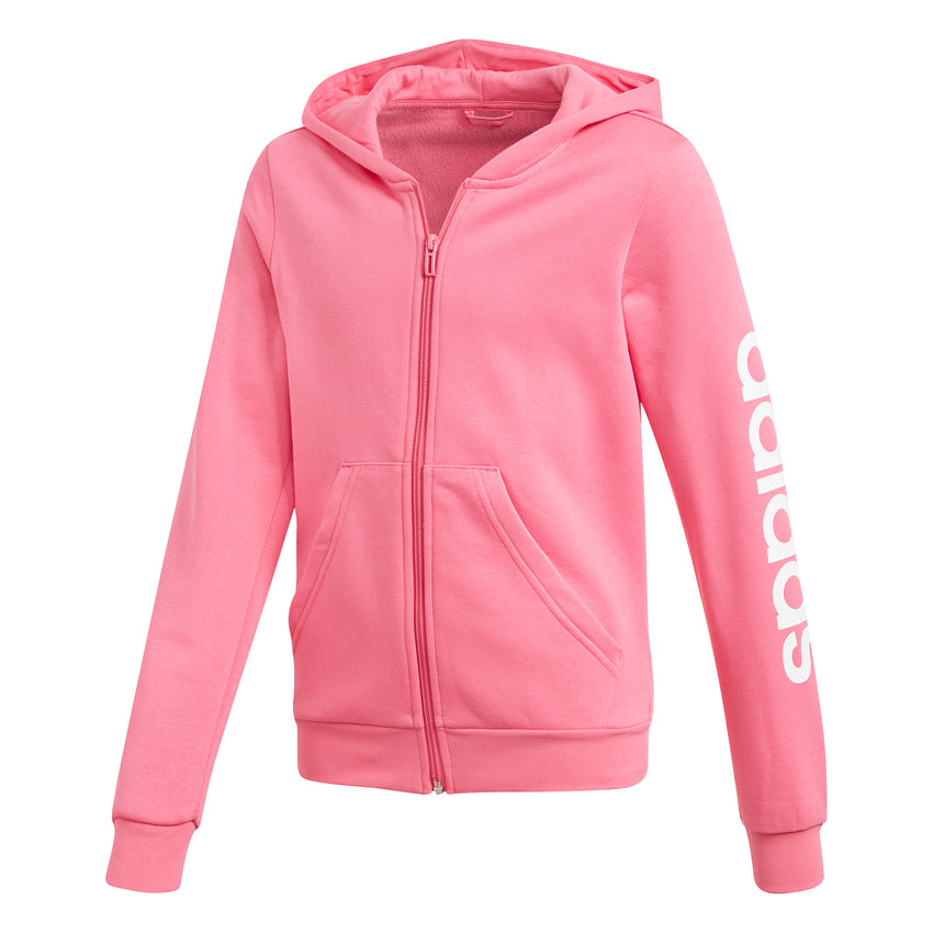 ADIDAS GIRLS ESSENTIALS LINEAR FULL ZIP HOODIE SEMI SOLAR PINK/WHITE