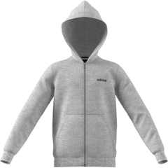 ADIDAS BOYS ESSENTIALS LINEAR FULL ZIP HOODIE MEDIUM GREY HEATHER/BLACK