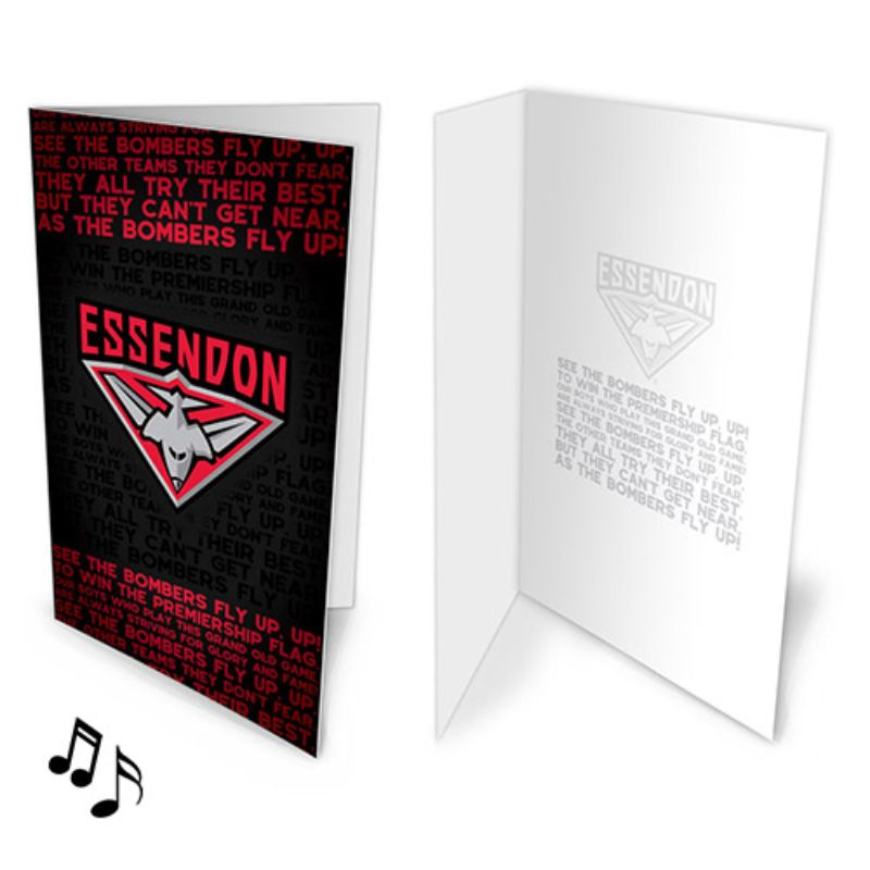 AFL MUSICAL CARD ESSENDON BOMBERS