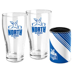 AFL SET OF 2 PINT GLASSES AND CAN COOLER NORTH MELBOURNE KANGAROOS