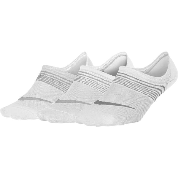 NIKE WOMENS EVERYDAY PLUS LIGHTWEIGHT TRAINING FOOTIE (3 PAIRS) WHITE/WOLF GREY