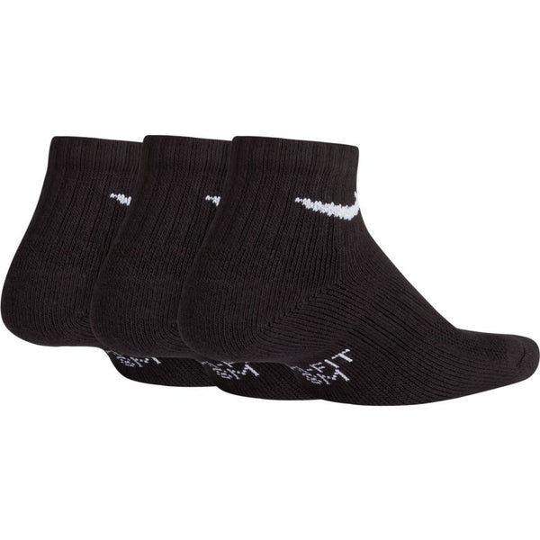 NIKE KIDS PERFORMANCE CUSHIONED QUARTER TRAINING SOCKS (3 PACK) BLACK/WHITE