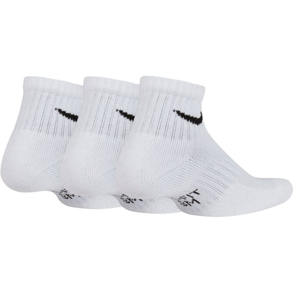 NIKE KIDS PERFORMANCE CUSHIONED QUARTER TRAINING SOCKS (3 PACK)