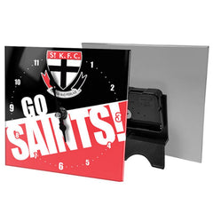 AFL MINI GLASS CLOCK ST KILDA SAINTS