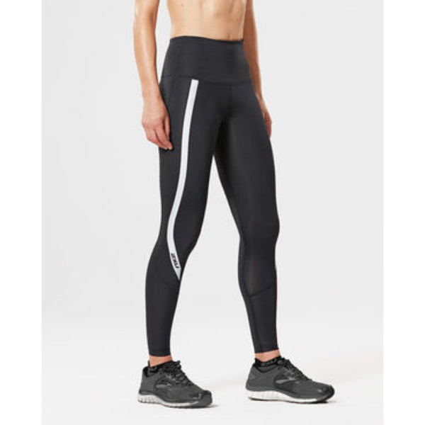 2XU WOMENS HI RISE FULL LENGTH COMPRESSION TIGHT BLACK/SILVER