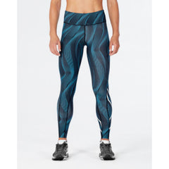 2XU WOMENS MID-RISE FULL LENGTH COMPRESSION TIGHT DRESDEN BLUE WHITE