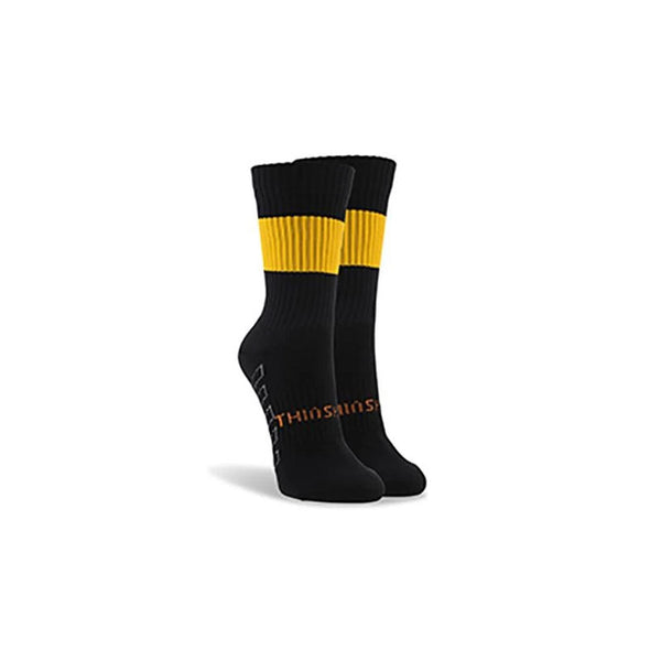 ThinSkins Short Football Socks - Black - Gold Hoops