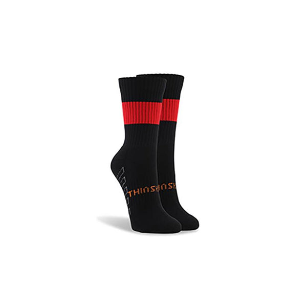 ThinSkins Short Football Socks - Black - Red Hoops