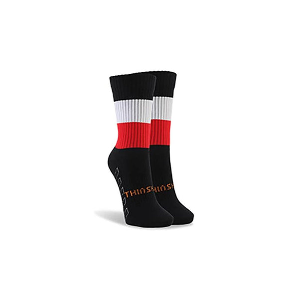 ThinSkins Short Football Socks - Black - White/Red Hoops