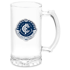 AFL STEIN WITH METAL BADGE CARLTON BLUES
