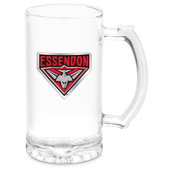 AFL STEIN WITH METAL BADGE ESSENDON BOMBERS