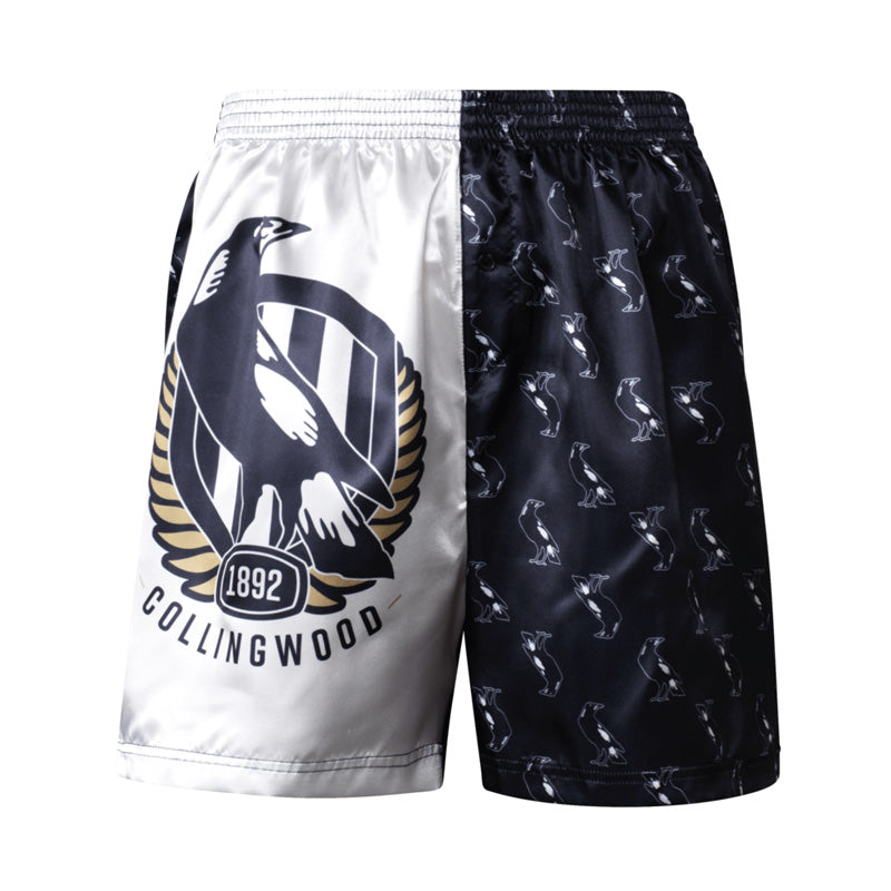 AFL MENS COLLINGWOOD MAGPIES SATIN BOXER SHORT