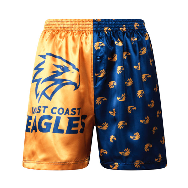 AFL MENS WEST COAST EAGLES SATIN BOXER SHORT