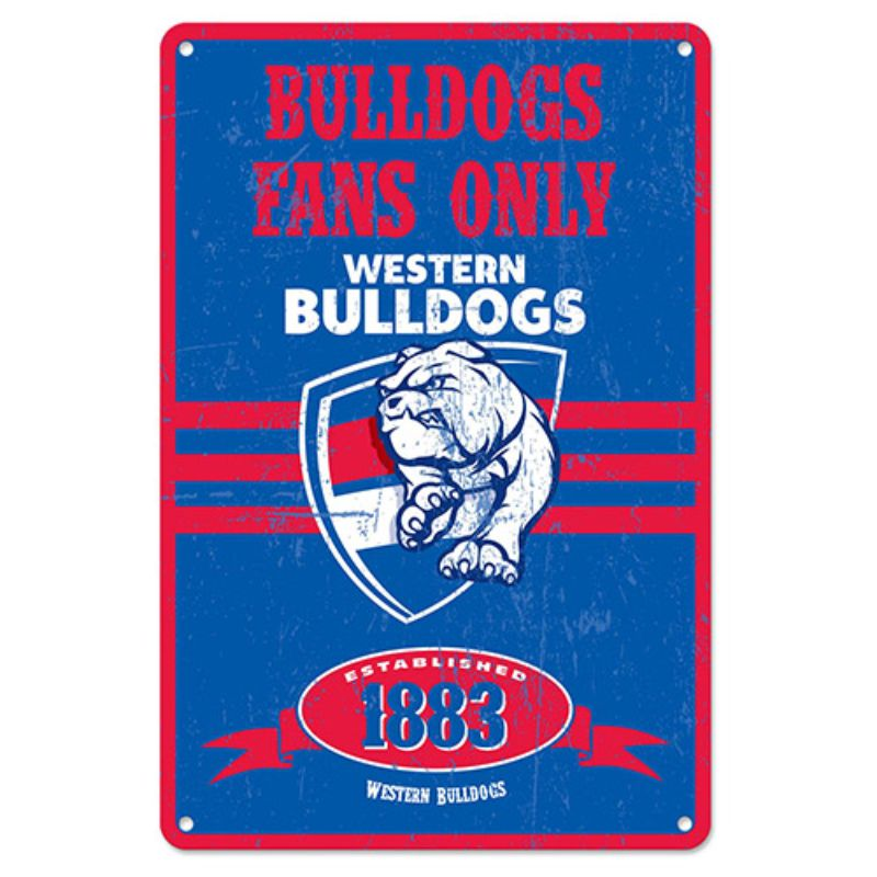 AFL RETRO METAL SIGN WESTERN BULLDOGS