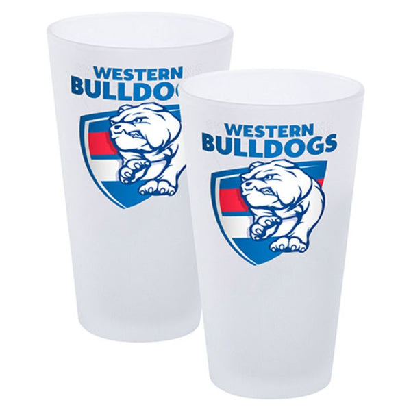 AFL SET OF 2 FROSTED CONICAL GLASSES WESTERN BULLDOGS