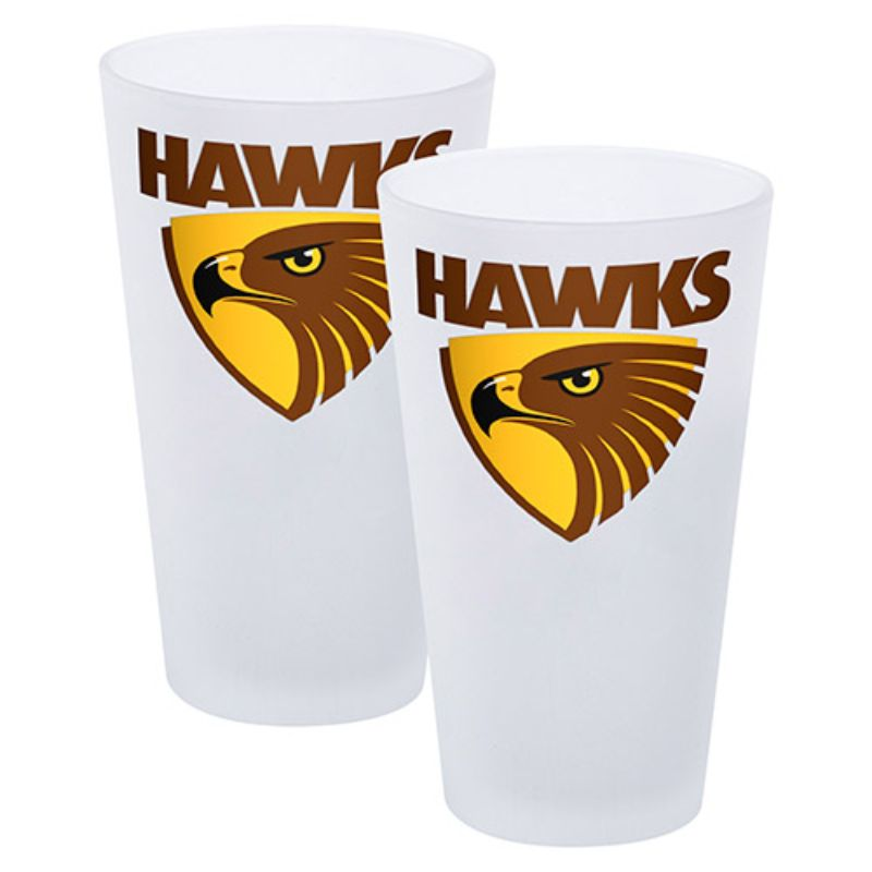 AFL SET OF 2 FROSTED CONICAL GLASSES HAWTHORN HAWKS