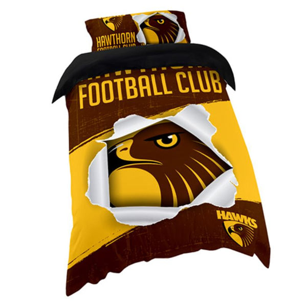AFL QUILT COVER SINGLE HAWTHORN HAWKS
