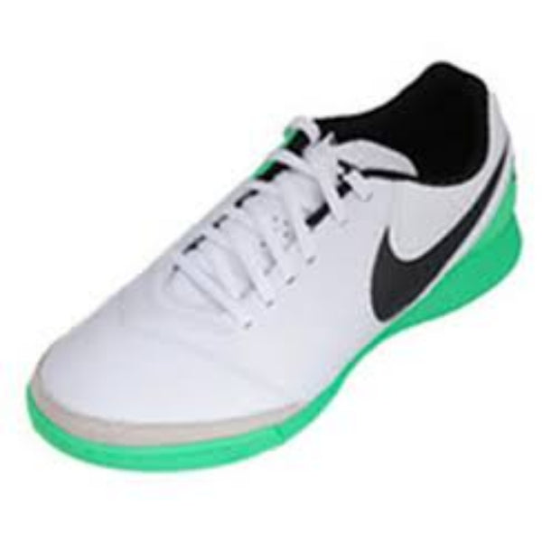 NIKE MENS TIEMPOX GENIO II LEATHER WHITE/BLACK ELECTRO GREEN
