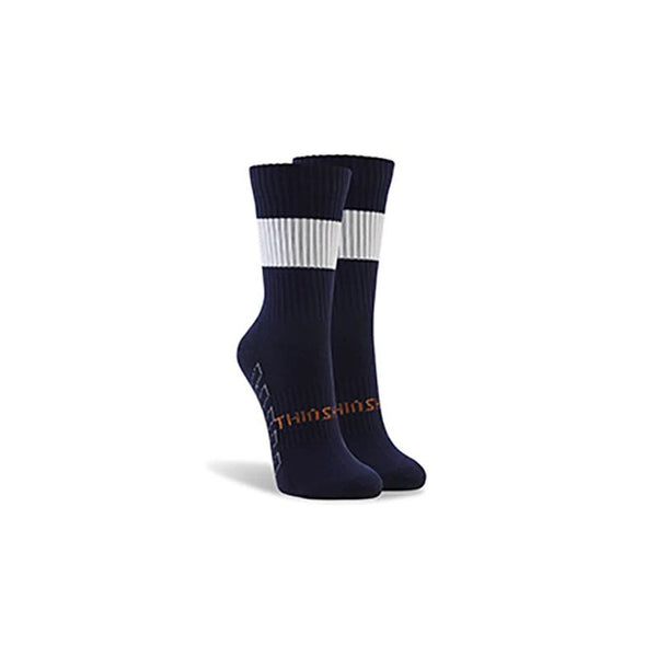 ThinSkins Short Football Socks - Navy - White Hoops